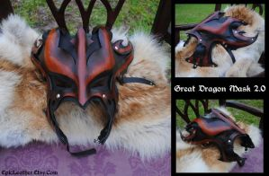 Leather Great Dragon Mask 2.0 by Epic-Leather