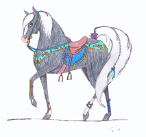 Arabian in tack by spiderling00