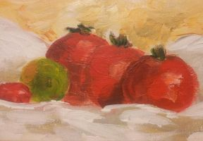 Still life with tomatoes close-up by Pralline