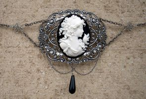 Black Cameo Filigree Choker by Aranwen