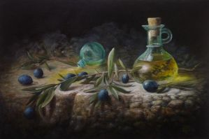 Oil bottle and olives by marcheba