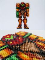 Super Metroid Samus (varia suit) bead sprite by 8bitcraft