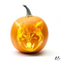 wolf carved pumkin by sk8rboi900