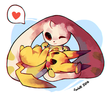 Terriermon and Pikachu by foxlett