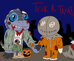 Trick R Treat with Lizard Face by MagicArt1