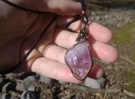 Amethyst Wire Wrap (Antiqued finish) For Sale by impish-midna