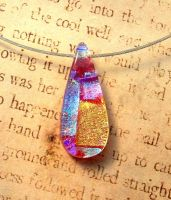 Pink Tear Drop Bail Free Fused Glass Pendant by FusedElegance