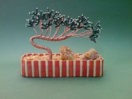 Bonsai Wire Tree Sculpture Beaded Pine by sinisaart