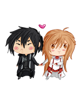 Commission #5 - Kirito and Asuna by tilloppy