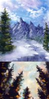 Landscape- Practises in Bob Ross-Style by Vapolord
