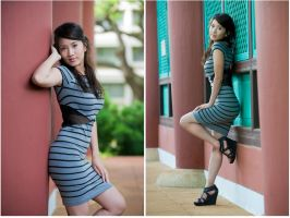 Stripped cut-out dress by WingedInfinity