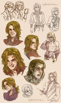 (Mostly) Feneon Sketches by CrystalCurtisArt