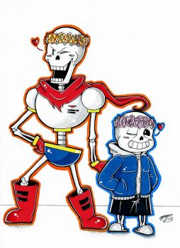 Papyrus and Sans With Flower Crowns! (Coloured.):3 by ShannonxNaruto