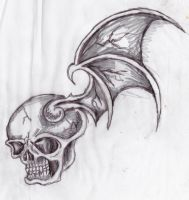 winged skull doodle by greenbaypara