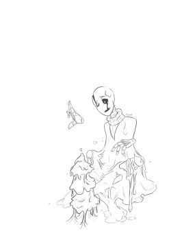 Have a very goopy christmas - Gaster lineart by A-wing-and-a-flair
