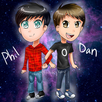 AT: Dan and Phil Chibis by kay-la-la