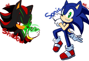 Shadow and Sonic Doodles by Vio-Light