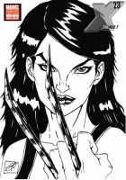 x-23 comic cover b and w by darkartistdomain