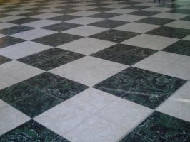 black and white tiled floor 2 by AzurylipfesStock