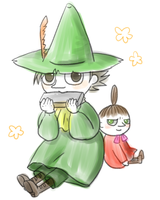 Snufkin and Little my by OysteIce