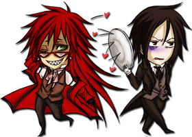 Grell and Sebastian chibi . ID by ManaSaya