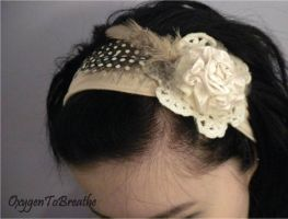 Pink flower_feather headband by eyescoveredhazel