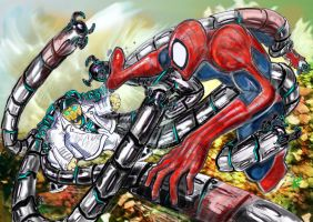 Spidey Vs Doc Ock by raakeshmenon