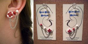 Nurse Earring Set with Chain by Justenjoyinglife