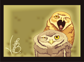 The two owls by MrDrawing