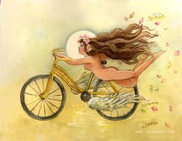Bicycle Angel Watercolor by BlueBirdie