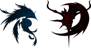 Dissidia Final Fantasy Cosmos and Chaos logos by eldi13
