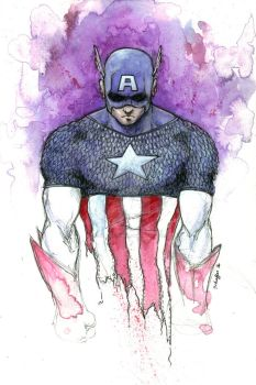 Captain America - Watercolor by StephenSchaffer