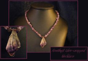 Amethyst Wire Wrapped Necklace by BacktoEarthCreations