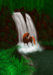 Horse on the waterfall by ElenPanter