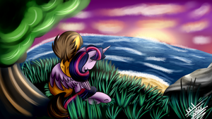 Watching the beach evening by Scarlett-Letter