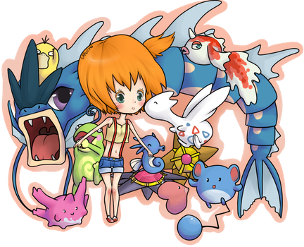 Misty and her Pokemon by Sarucho