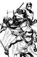 Batman, Nightwing and Robin by PhillieCheesie