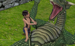 Shirtless Boy stabs defenseless Dragon Belly by XNS