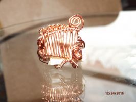 Petrified Wood and Copper Ring by Melancholy-Moogle