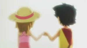 Serena and Ash holding hands by AlexyAlexyE