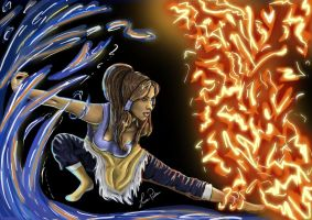 Korra - Water and Fire by Lauren-Paikin