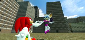 Rouge and Knuckles Fly Away by Cazemon