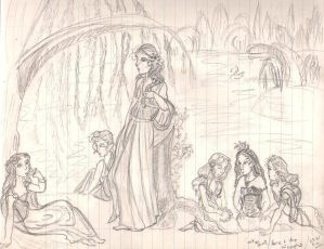Hera and the nymphs sketch