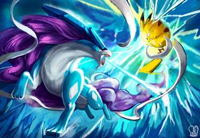 POKKEN : Suicune vs Pikachu by Sa-Dui