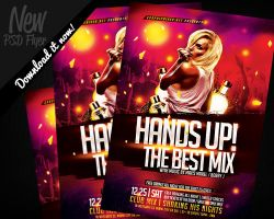Hands Up Dance Music Flyer Template PSD by REMAKNED