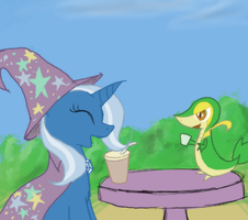 Trixie and Snivy by Enma-Darei
