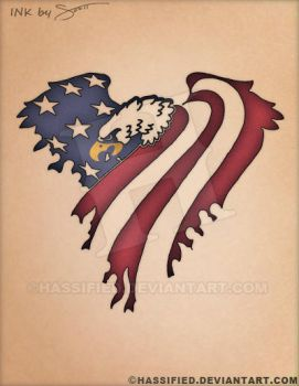 American Eagle Flag Tattoo by hassified