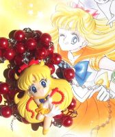 Kawaii Sailor Venus red pearl bead necklace by KawaiiKave