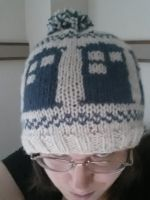 Knit TARDIS Hat with Pompom by augeeklectic