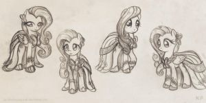Fluttershy gala dress sketches by KP-ShadowSquirrel